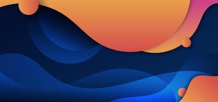 vague abstraite de forme fluide jaune et orange courbée avec cercle sur fond bleu foncé.