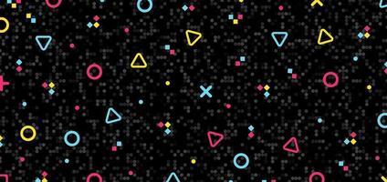 Éléments de motif abstrait hipster géométrique coloré sur fond de mosaïque noire et texture rétro des années 80.