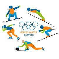 Illustration de sports d'hiver coréen vecteur
