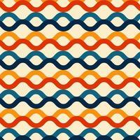 motif de lignes de vague fond de style de couleur rétro vecteur