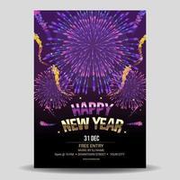 fantastique feu d'artifice pour l'affiche de la fête du nouvel an vecteur
