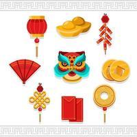 jeu d'icônes minimaliste du nouvel an chinois oriental vecteur