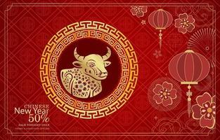 kit de marketing du nouvel an chinois rouge vecteur