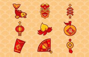 icône chinoise simple rouge et or vecteur
