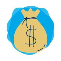 icône isolé de sac dollar argent