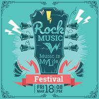 Festival de musique rock. Modèle de fond affiche. Résumé de la guitare vecteur