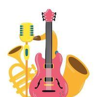 guitare électrique et instruments de musique vecteur