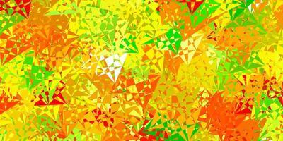 toile de fond de vecteur vert clair, jaune avec des triangles, des lignes.
