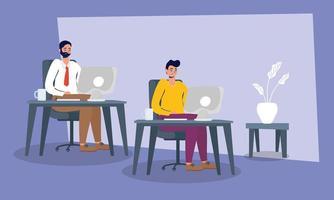 hommes d'affaires élégants travaillant au bureau