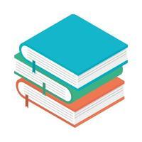 Icône de fournitures scolaires de livres empilés