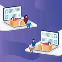 shopping en ligne avec un couple achetant dans un ordinateur portable