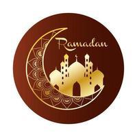 lune dorée avec taj mahal ramadan kareem
