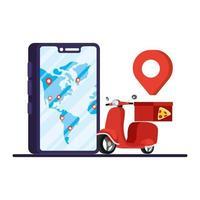 livraison pizza moto dans smartphone vecteur