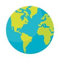 Icône isolé de la planète terre monde vecteur