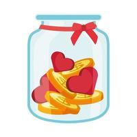 pot de dons de charité avec coeurs et pièces de monnaie