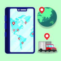 smartphone avec service de livraison de camion vecteur