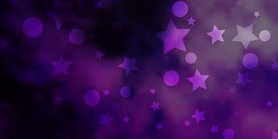 texture vecteur violet clair avec des cercles, des étoiles.