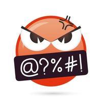 Emoji visage personnage drôle en colère vecteur
