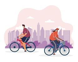 jeune couple, vélo, porter, masques médicaux