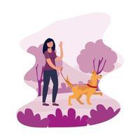 jeune femme marchant avec chien