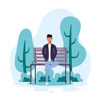 Jeune homme décontracté assis dans le personnage d'avatar de chaise de parc