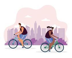 jeune couple, vélo, porter, masques médicaux vecteur
