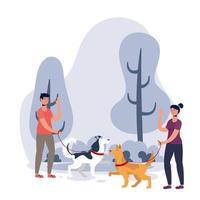 jeune couple marchant avec des chiens