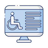 bureau avec icône de style plat handicapé en fauteuil roulant
