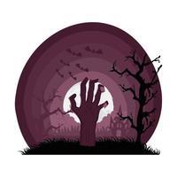 main de la mort sortant dans une scène sombre vecteur
