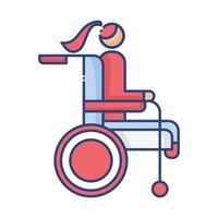femme en fauteuil roulant icône de style plat handicapé