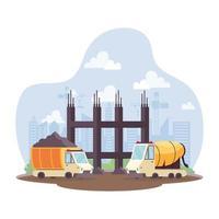 Benne de construction et véhicules de bétonnière en scène de travail