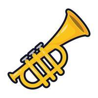 icône de style plat instrument de musique trompette vecteur
