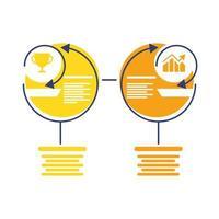 icône de style plat statistiques trophée et barres infographie vecteur