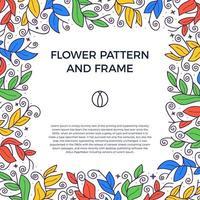 bordure de cadre floristique dessiné main coloré vecteur