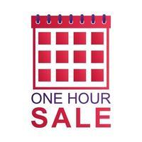 badge de compte à rebours de vente d'une heure avec calendrier vecteur