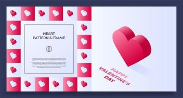 bordure de cadre affiche, bannière ou carte avec coeur isométrique d'amour