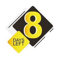 badge de compte à rebours de huit jours vecteur