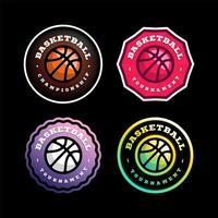 jeu de logo vectoriel circulaire de basket-ball