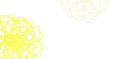 modèle de doodle vecteur jaune clair avec des fleurs.