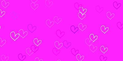 modèle vectoriel violet clair, rose avec des coeurs de doodle.