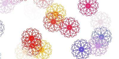 motif de doodle vecteur rouge et jaune clair avec des fleurs.