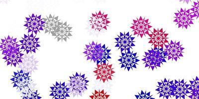 modèle vectoriel bleu clair, rouge avec des flocons de neige de glace.
