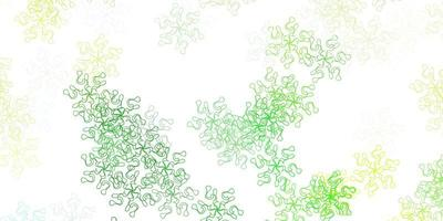 motif de doodle vecteur vert clair, jaune avec des fleurs.