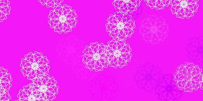 fond de doodle vecteur rose clair avec des fleurs.