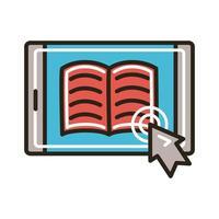 livre électronique dans le smartphone et la flèche de la souris
