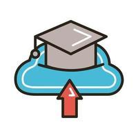 chapeau de graduation avec ligne en ligne d'éducation cloud computing et style de remplissage