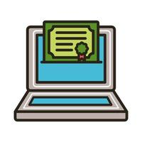 certificat de fin d'études sur ordinateur portable vecteur