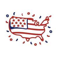 Carte des États-Unis avec conception d'illustration vectorielle de style de ligne de drapeau