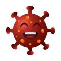 caractère émoticône heureux de particules covid19