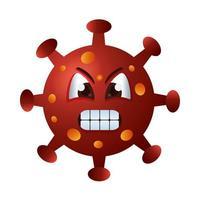 caractère émoticône en colère de particules covid19 vecteur